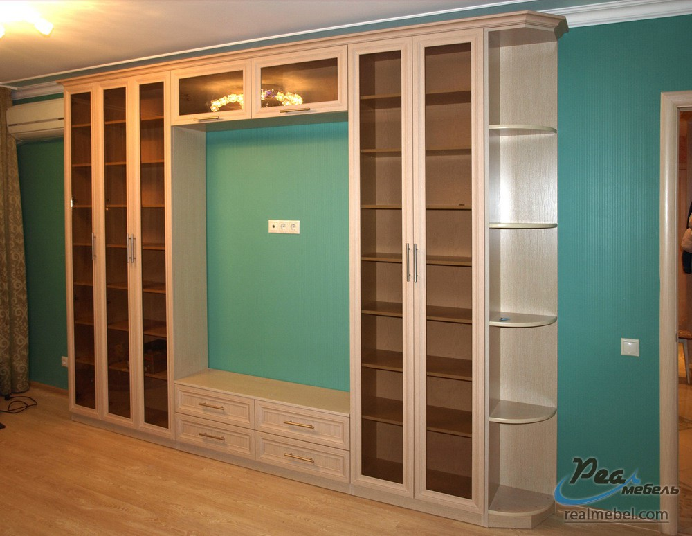 Книжные шкафы с тумбой для тв - реал мебель.